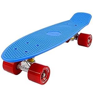 FunTomia® Mini-Board 57cm Skateboard mit oder ohne LED Leuchtrollen inkl. Aluminium Truck und ABEC-11 Kugellager in verschiedenen Farben zur Auswahl (Mini-Board in Blau / roten Rollen ohne LED)