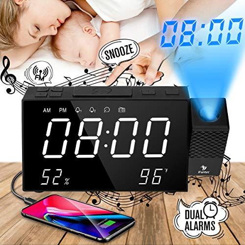 Projektor-Wecker, Projektions-Digitaluhr-Wecker, mit UKW-Radio, Doppelalarm, Schlummerfunktion, 7''LED-Großbildschirm, Lautstärke +/-, Helligkeit +/-, Anzeigetempo / umidità / Temperatur