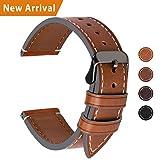 Fullmosa Ersatz Armbänder für Uhr in 4 Farben, Wax Series Echtes Leder Uhrenarmband/Wactch Armband/Replacement für 24mm,Dunkelbraun + Rauchgraue Schnalle