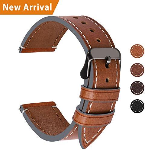 Fullmosa Ersatz Armbänder für Uhr in 4 Farben, Wax Series Echtes Leder Uhrenarmband/Wactch Armband/Replacement für 20mm,Dunkelbraun + Rauchgraue Schnalle