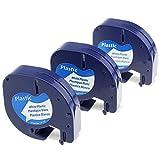 3Stück Schriftband Kompatibel Dymo Letratag 91221 S0721660 Schriftbandkassetten Kunststoff schwarz auf weiß 12mm x 4m für Beschriftungsgerät LT-100H lt-100t lt-110t QX 50 XR XM 2000 Plus