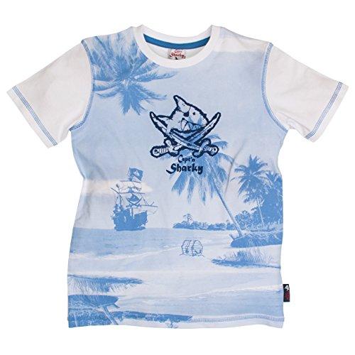 Capt'n Sharky by Salt & Pepper Jungen T-Shirt S Sharky Uni Print, Weiß (White 010) 104 (Herstellergröße: 104/110)
