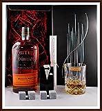 Geschenk Bulleit Bourbon Frontier Whiskey + 4 Kühlsteine im Smoking + Whisky Glas Nachtmann kostenloser Versand