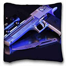 Generic Personalized ( Nature Desert pistols weapons desert eagle Nature Desert ) Custom Zippered Pillow Case 16x16 inches(one sides) from Surprise you suitable for X-Long Twin-bed PC-Red-6922