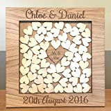 Wooden Drop Box Wedding Guest Book Alternative, Personalised with Name of Couple and Date of Wedding (Medium Square Frame)