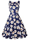 IHOT Women's Vintage 1950s Classy Rockabilly Retro Floral Pattern Print Cocktail Evening Swing Party Dress (S, Navy Blue White Floral)
