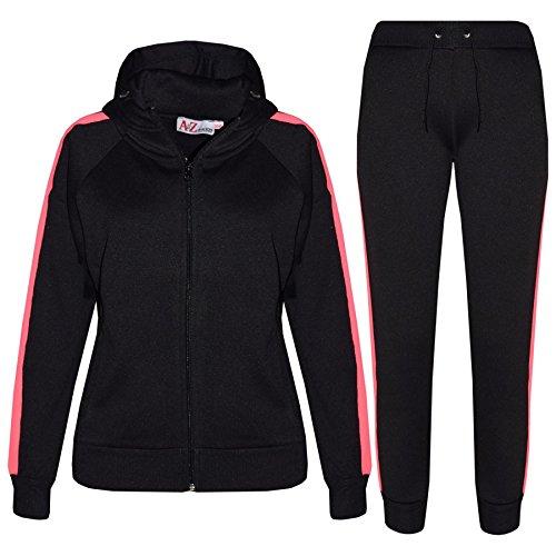 A2Z 4 Kids® Enfants Filles Garçons Survêtement Designer Noir & Néon Rosé Plaine - T.S 102 Black Neon Pink_11-12