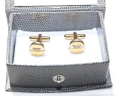 Men's GIFTBOXED. Circle Gold Filled 18Kt Cufflinks. UK Guarantee: 3µ/10