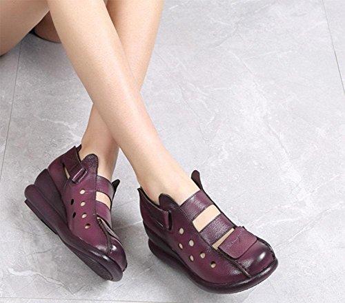 Retro pente des sandales de femmes avec creux en cuir croûte épaisse Xia Jiping sandales romaines femme coréenne fond chaussures Purple