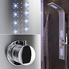 Idea Regalo - POPSPARK Doccia Schermo LED Illuminazione Doccia Colonna termostato Doccia Maniglia Asta Doccia Regolabile in