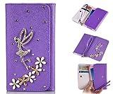 ZeWoo PU Leder Brieftasche - XT036 / (5#) Engel + Blumen (lila) - für CUBOT X12 (5 Zoll) Tasche Hülle