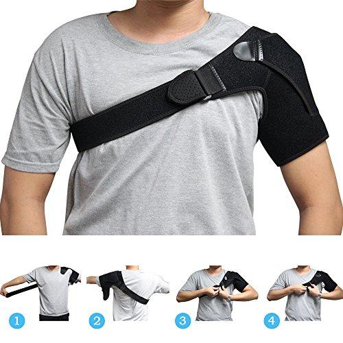 aptoco Soporte elástico para hombro ajustable Wrap cinturón banda para Rotator puños, ca conjunto trastornado Prevención y pantalla, se adapta a la izquierda o a la derecha para el hombro