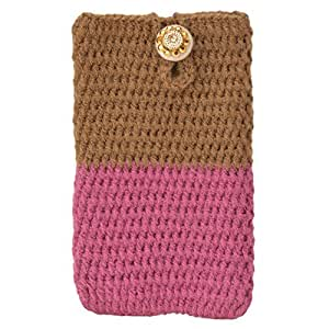 Etcetera Handmade Crocheted Protactive Smartphone Mobile Cell Phone Purse Cover Pouch Bag For Micromax A88 Canvas Music