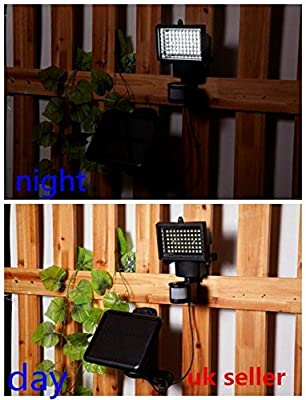 Bright White 60 Led Pir Motion Sensor Solar Panel Security Floodlight Lamp Garden Outdoor Light - Night Light For Gardens And Outdoors