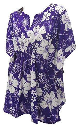 La Leela super weich likre Kimono Blumen Hibiskus caribbean dehnbar 4 in 1 Strand-Bikini-Vertuschung Tunika Lounge Grund Kleid beiläufig plus Größe Badeanzug Bikinifrauen kaftankaftan lila (Hibiskus La Leela)