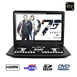 17� Portable DVD Player, FENGJIDA Portable DVD Player with Big Size Screen, Supports SD Card and USB, Direct Play in Formats MP4/ AVI/ MP3/ JPEG/ HDMI