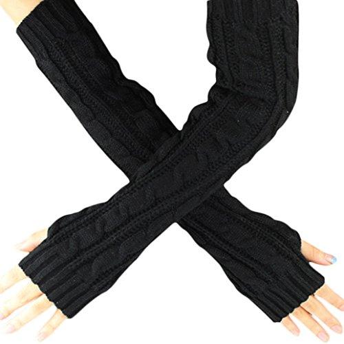 POachers Mitaines Longues Femme Hiver Chaud Poignet Bras Tricot Mitaines Demi-Doigt Gants (Noir)
