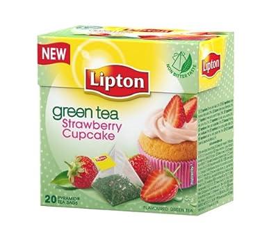 Lipton - Thé Vert - Goût Cupcake Fraises - 20 Sachets Pyramide Premium