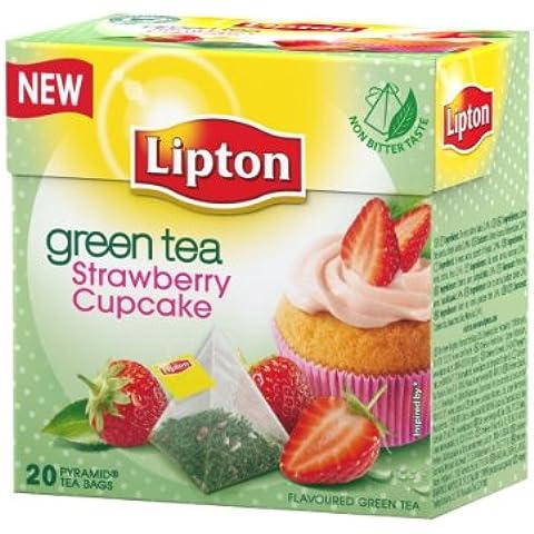 Lipton Bustine di Tè Verde Premium a Piramide, Gusto Cupcake alla Fragola (Confezione da 20 Bustine) - Fragola Piramide
