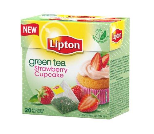 Lipton Green Tea - Strawberry Cupcake - Premium Pyramid Tea Bags (20 Count Box)