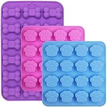 3 moldes de silicona en forma de hueso y hueso, fineGood chocolate Candy jabón bandejas