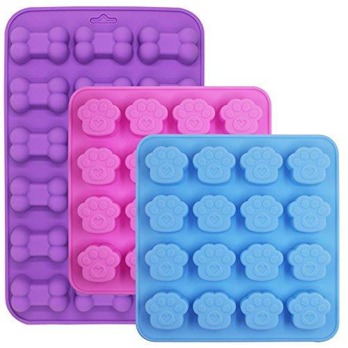 FineGood Silikonform für Eiswürfel, Kekse, Süßigkeiten 18 Knochen + 32 Pfoten.