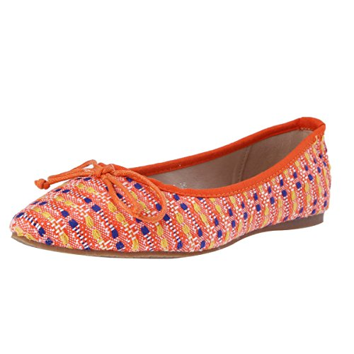 Damara Femmes Ballerines Casual Nœud Papillon Talons Plats Orange