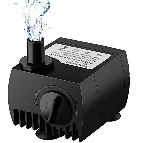 Maxesla Submersible Pump 80 GPH (300L/H) Fountain Water Pump For Pond/Aquarium/Fish Tank/ Statuary/Hydroponics with 5.9ft (1.8M) Power Cord Test