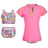 Dayu World Mädchen Bademode Anzug Set mit Short Sleeve Rashguard Shirt, rose-bunt, L