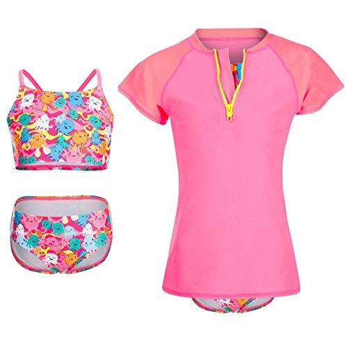 Dayu World Mädchen Bademode Anzug Set mit Short Sleeve Rashguard Shirt, rose-bunt, M