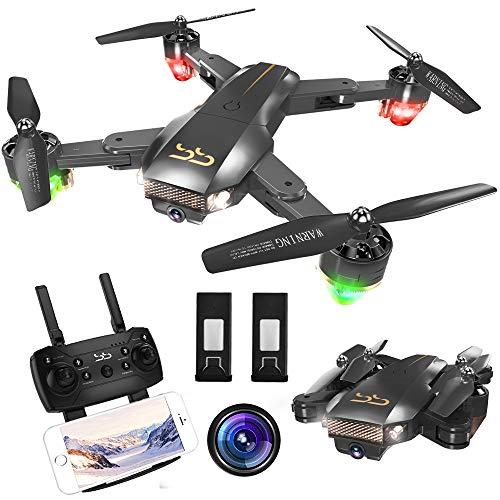 ScharkSpark Drohne Thunder mit Live-Video-Kamera, RC Quadcopter mit 2 Batterien, Einfach für Anfänger zu steuern, faltbare Arme, 2,4 G 6-Achsen, Kopflos-Modus, Höhe- halten-Funktion