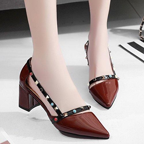 RUGAI-UE Estate Moda Sexy tacco ruvida appuntita sandali poco profonda High-Heeled Calzature Donna Brown
