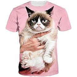 Hombres Mujeres Linda Mini Animal Doméstico Del Gato Camiseta De Manga Corta Tops Para Entrenamiento