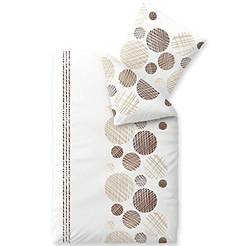 aqua-textil Bettwäsche 155x220 Baumwolle 2tlg Set Kopfkissen Bettbezug Reißverschluss Atmungsaktiv Bett 80x80 Kissen Streifen Punkte Kreise Braun Beige Natur Weiß Grau Schwarz 1000660 Trend Cleo (Beige Streifen Natur)