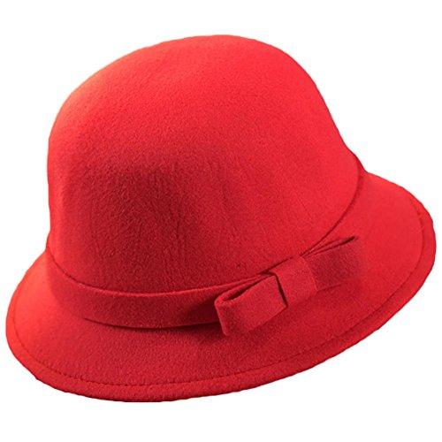 Demarkt Mode Fischerhut Kinderhut aus Filz für Kinder Mädchen Hutumfang von ca. 52-56cm Rot (Mode-mädchen-hut)