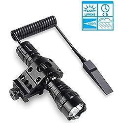 Lampe torche tactique LED de chasse avec haute lumière résistant à l'eau et à la pression et à la queue de souris, 2 piles rechargeables, chargeur 45° Picatinny Mount pour camping, randonnée