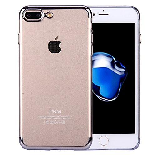 iPhone Case Cover Pour iPhone 7 Plus électrodéposition Soft TPU Housse de protection ( Color : Silver ) Black