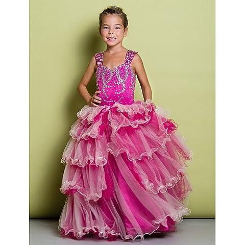 ZY/A-Line floor-length Flower Girl Dress in organza/Satin, senza maniche, pearl pink, child-10