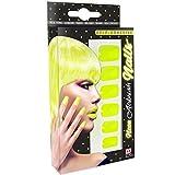 NET TOYS 80er Jahre Fingernägel Künstliche Nägel Neon Gelb Fake Nails Airbrush Kunstnägel zum Aufkleben