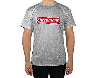 Männer T-Shirt mit Ehrenmann in Schwarz Weiß Grau Design Boy Top Jungs Shirt Herren Basic 100% Baumwolle Kurzarm (S, Grau)