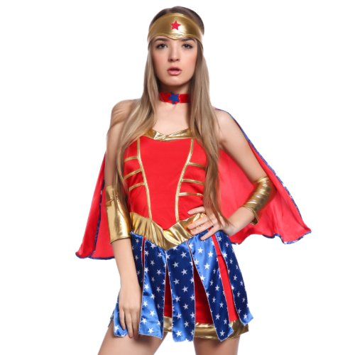 Sexy Damen Halloween Kostuem Wondergirl Kostuem Superheldin Woman hero Outfit Karneval Party Mottoparty Fancy Dress