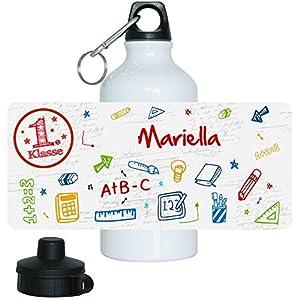 Trinkflasche mit Namen Mariella und 1. Klasse-Motiv für Mädchen, aus Aluminium