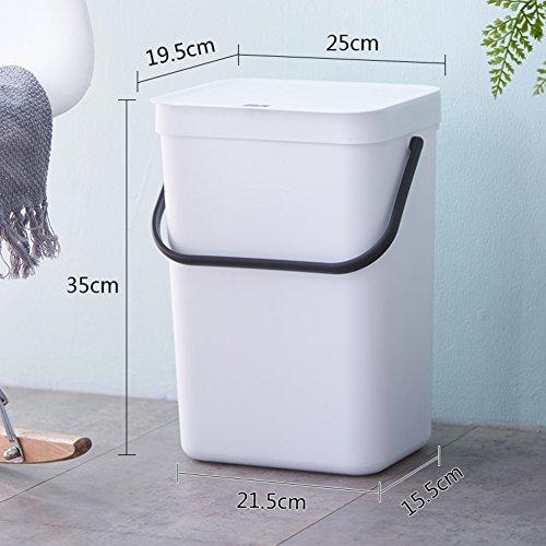 EODNCKJFG Einfache Wand Wandbehang mlleimer abfalleimer,Portable Trash Bin abfalleimer mit Deckel,Haushalt kche Bad papierkorb-Wei
