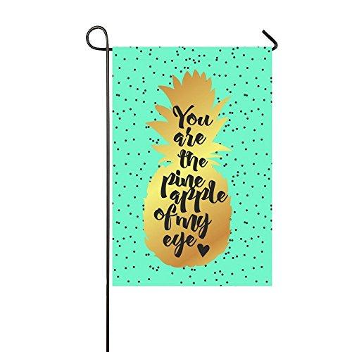 interestprint Gold Ananas Zitat Polyester Garten Flagge Haus Banner 30,5x 45,7cm, Tropical Summer Fruit Fahne Deko für Hochzeit Party Yard Home Outdoor Decor