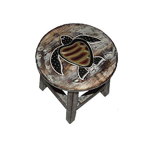 Simandra Holzhocker Kinderhocker Hocker Sitzhocker Fußbank Massivholz Schemel Stuhl mit Tiermotiv Deko weiß Farbe Schildkröte