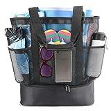 defair Mesh Strandtasche Tote, Extra große wiederverwendbare Shopping Strand Handtasche Familie Picknick Kühler Outdoor Grocery Organizer Net Bag