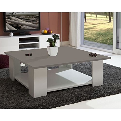 LIME Table basse carrée blanc + plateau taupe