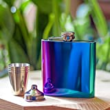 Rainbow Hip Flask For Women Gift Box Set, Iridescent Stainless Colourful Hip Flask with Funnel & 4 Shot Cups - 6oz