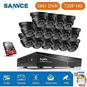 dvr 16 camaras: SANNCE 16CH DVR y 16 Cámaras de Seguridad con 1TB Disco Duro de vigilancia Visió...