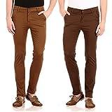FlyJohn Men's Combo of Two Colors Slim F...